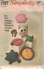 Simplicity 7367 Cuddle Pillows Pajama PJ Bags Vintage 1967 Retro Cat Frog & More
