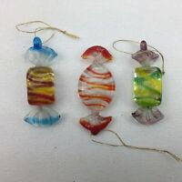 Blown Art Glass Hard Candy Wrapped Christmas Tree Ornaments Set of 3
