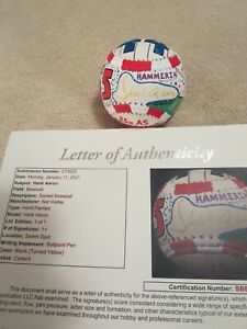 HANK AARON SIGNED BASEBALL HAND PAINTED WITH STATS JSA LOA, AMAZING GORGEOUS ART