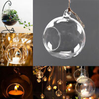 10x Clear Hanging Glass Bauble Ball Tealight Candle Holder Wedding Garden Decor