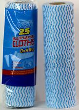 Two Rolls of 25 Multipurpose Strong Soft Cloths On A Roll Home Office Clean Wipe