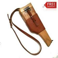 WW2 GERMAN  MILITARY MAUSER BROOMHANDLE LEATHER HOLSTER AND WOOD STOCK