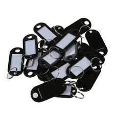 20 Pcs Key ID Label Tags Split Ring Keyring Keychain Black DT