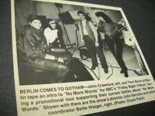 BERLIN Terri Nunn & John Crawford at video shoot Vintage music biz promo pic/txt