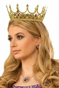 Adult Womens Gold Plastic Royal Queen Crown Halloween Costume Accessory