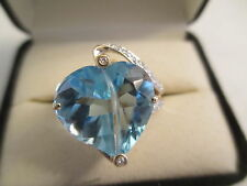 14K Gold Diamond & Blue Topaz Ring Dia=1/3 Carat  SI1-F TCW=8.33  Carat  (20 MM)