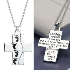 Daugther Son Gift My Child I Love You Letter Cross Footprint Pendant Necklace