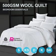 All Season All size 100% Australia Wool Quilt Doona Duvet Blanket -500GSM