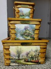 Collectable Thomas Kinkade Wooven Baskets x 3