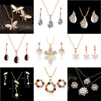 Woman Fashion Gold Plated Crystal Pendant Chain Necklace Earrings Jewelry Set