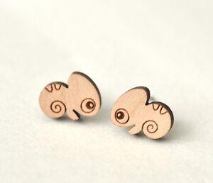 Wood cute chameleon earrings womens girls animal reptile stud earrings