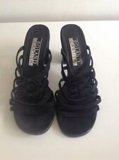 Roland Cartier Black Suede Slip On Heels Front Strappy Detail Size 39/6 Bows