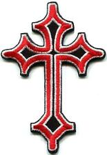 Celtic red cross medieval gothic goth embroidered applique iron-on patch S-1193