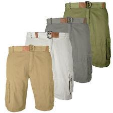 Mens Cargo Shorts Twill Cotton Knee Length Casual Khaki Grey Stone Army Shorts