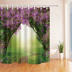 """Forest With Lilac Trees In Blossom Bathroom Polyester Fabric Shower Curtain 71"""""""