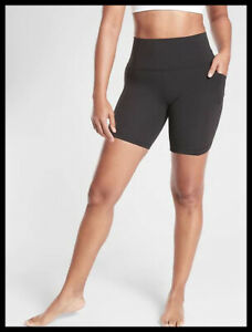 "Athleta NWT Women's Salutation  Stash Pocket II 7"" Short i Size Med Black"