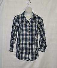 Joan Rivers Plaid Shirt with Back Button Detail Size 2X Navy
