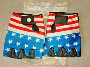 PARAGON USA STARS & STRIPES FLAG FINGER-LESS GLOVES MED RED WHITE BLUE  VMX BMX