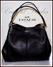 Coach Lexy Leather Shoulder Bag Purse Handbag BLACK Gold #57545 NWT $395 2017