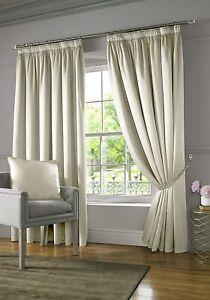 Alan Symonds Burj Curtain Lined Silk Look Pencil Pleat Tape Top, Cream 229x229cm