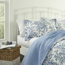 Laura Ashley Bedford King Pillow Sham ONLY! Blue White Floral Cotton
