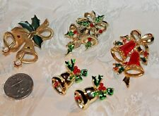 Vtg 5 Christmas Bell Pins 1 Gerry'S& 2 Beatrix Ex Con For Gifts Or Resale