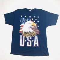 Men's USA American Flag Bald Eagle Patriotic Navy Graphic Tee T-Shit Sz XL EUC