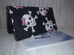 CHECKBOOK COVER Document Coupon Organizer Skulls Fabric Print USA Made