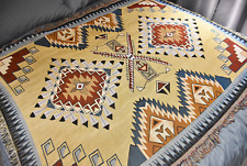 Large Tribe Indian Cotton Throw Blanket Ethnic Tapestry Picnic Rug Yellow Red AU