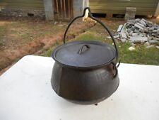 Rare Antique Cast Iron 3 1/2 Gallon Cauldron Gypsy Three Legged Cook Stew Pot