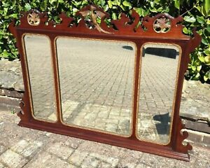 Antique Victorian Edwardian Mahogany 3 Section Overmantle Mirror Georgian Style