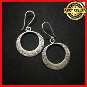 Fine 925 Silver Earrings Vintage Round Tribal Tibetan texture ER1121 AUCmon
