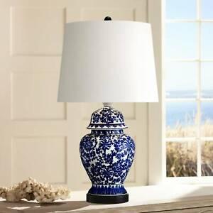 Asian Table Lamp Temple Porcelain Jar Blue Floral White for Living Room Bedroom