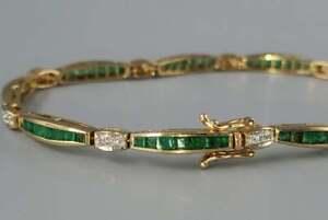 16.10 Ct Princess Cut Emerald & Diamond Tennis Bracelet In 14K Yellow Gold Over