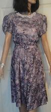 Vintage Swirled Paint Design Purple Polyester Dress Lace Collar 14 B42