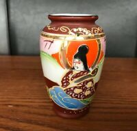 """Antique Japanese Satsuma TRICO 5"""" Hand Painted Vase ~ NAGOYA ~ JAPAN"""