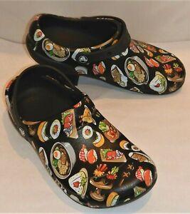 RARE Crocs Bistro Graphic Clog Black Multi All Over SUSHI Size 8 Men's 10 Women