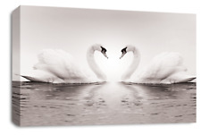 Grey Love Swans Wall Art Picture Cream Kissing Heart Animal Canvas Panel New