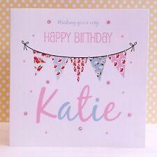 Shabby Chic Bunting HANDMADE Personalised Birthday Card Mum Sister Friend Gran