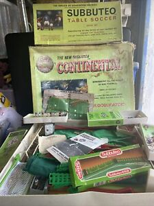 Vintage Subbuteo Job Lot Incs Flood Lights One Front Missing, Pitches, Barriers