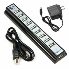 10 Port Hi-Speed USB 2.0 Splitter Hub + Power Adapter F/PC Laptop Computer EU/US