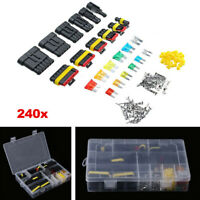 240x 1~6 Pin Car Electrical Wire Connector Plug Terminal+Mini Blade Fuses Kit