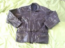 MENS/WOMENS VINTAGE LEATHER MOTORCYCLE JACKET WITH WAISTBAND. MED/ LARGE. USED.