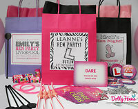 HEN NIGHT PARTY PERSONALISED GIFT BAG ** PRE FILLED**  8 ITEMS - ACCESSORIES
