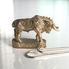 Miniature Figurine Brass Bull Bison Animal Metalwork Art Decor