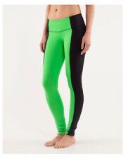 Lululemon Wunder Under Legging Pant Bonded Stripe Black/Frond Size 6 EUC