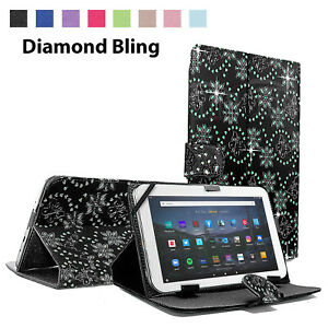 For Amazon Fire HD 10 2021 (19/17/15)  Flip Stand Diamond Case Cover UK Seller