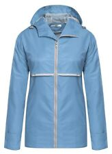 NEW Meaneor Women's Hooded Waterproof Reflective Stripe Jacket Sky Blue X-Large