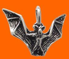 BAT Pendant 925 Sterling SILVER 17mm Drop : Gothic Halloween Vampire Goth