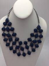 $42.50 M.haskell Hematite Tone Blue Oval Bead Statement Collar Necklace MH 48